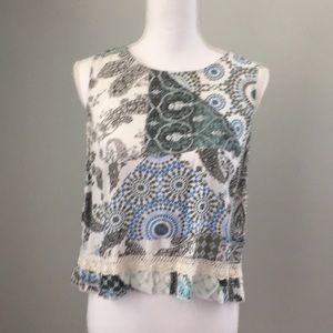 New cute sleeveless blue/green top unique top